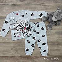 Детский трикотажныйкостюм Собака размер 1-3 года, белого цвета