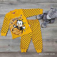 Детский трикотажныйкостюм Пчелка размер 1-3 года, желтого цвета