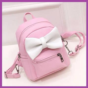 Стильний жіночий міні рюкзак з еко-шкіри, модний міні рюкзачок для дівчат, колір рожевий з вухами Міккі