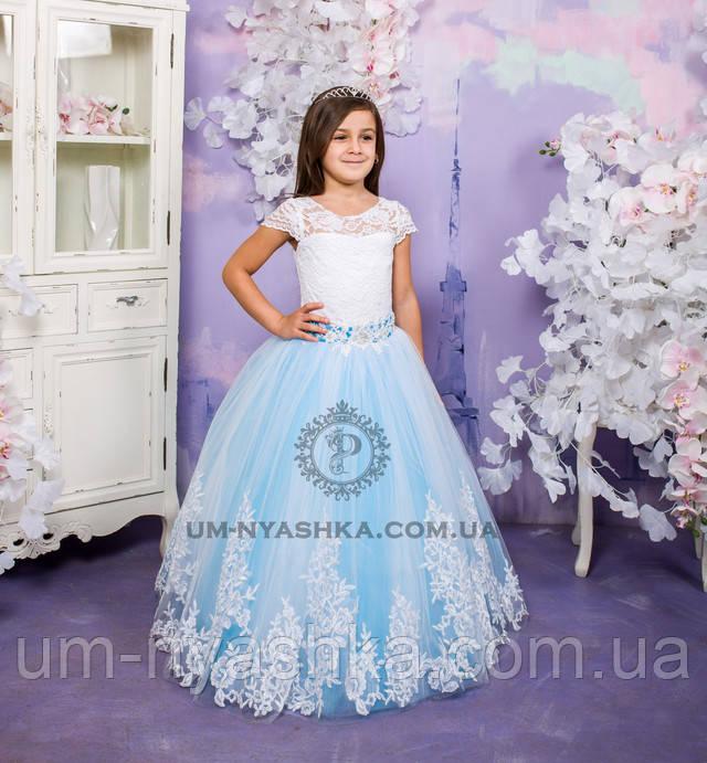 длинное нарядное гипюровое платье на 6 лет