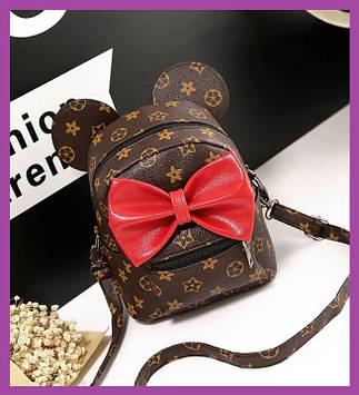 Стильний жіночий міні рюкзак з еко-шкіри, модний міні рюкзачок для дівчат, колір коричневий з вухами