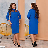 Однотонне приталене софтовое легке плаття з рубашечным коміром р: 48-50, 52-54, 56-58, 60-62 арт. 128