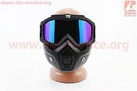 Очки + защитная маска, черная (хамелеон стекло) MT-009