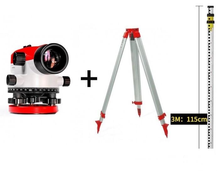 НАБОР ГЕОДЕЗИСТА ᐉ ᐉНивелир оптический INTERTOOL MT-3010 + рейка геодезическая 3 м+ штатив