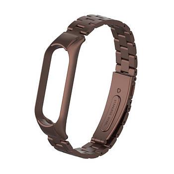 Pемешок для фитнес-браслета Mi Band 3 и 4 Bead design, Bronze