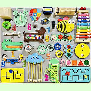 Развивающая доска размер 50*60 Бизиборд для детей 37 элементов!