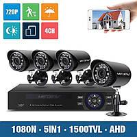 Комплект видеонаблюдения для улицы дома дачи на 4 камеры Full HD IP66 система наблюдения
