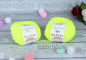 """Пряжа Gazzal """"Baby Cotton""""(Газзал Беби Коттон)№3462,желтый(неон)"""