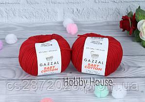 "Пряжа Gazzal ""Baby Cotton""(Газзал Беби Коттон)№3439,красный"