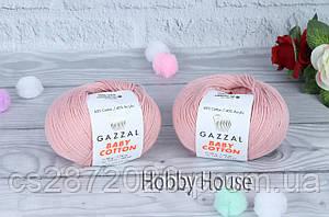 "Пряжа Gazzal ""Baby Cotton""(Газзал Беби Коттон)№3444,пудра"