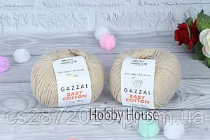 "Пряжа Gazzal ""Baby Cotton""(Газзал Беби Коттон)№3446,бежевый"