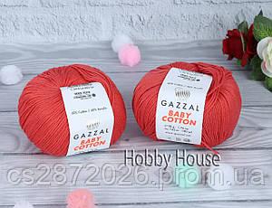 "Пряжа Gazzal ""Baby Cotton""(Газзал Беби Коттон)№3418,кораловый"