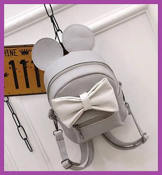 Стильный женский мини рюкзак с эко-кожи, модный мини рюкзачок для девушек, цвет серыйс ушами
