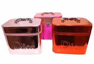 Шкатулка - косметичка жіноча, для дівчат / НАБІР 2 В 1 / еко-шкіра, / Dior / 19*21*15
