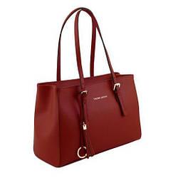 Жіноча шкіряна сумка від марення Tuscany Leather (Італія) / розмір 34-23.5-15.5 см / колір червоний