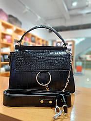 Жіноча сумка з якісної екошкіри в принті кроко , колір чорний , 27-20-9 см