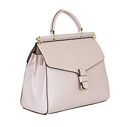 Жіноча шкіряна сумка De esse (Україна -Франція) / розмір 23-28-11 см / колір бежевий