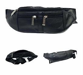 Поясна сумка, напоясна сумка, бананка якісна та м'яка натуральна шкіра, чорного кольору, GORANGD 155