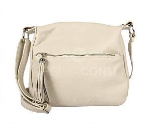 Жіноча шкіряна сумка ТМ Virginia Conti(Італія) / розмір 28 x 25 x 15 см / колір бежевий