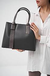Жіноча шкіряна сумка ТМ Borse in Pelle (Італія) / розмір 34-25.5-15.5 см / колір сірий