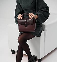 Жіноча шкіряна сумка TM Borse in Pelle (Італія) / розмір 24-20-12.5 см / колір марсала