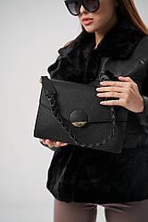 Жіноча шкіряна сумка TM Borse in Pelle (Італія) / розмір 28-19.5-9 см / колір чорний