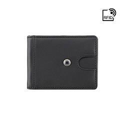Мужской кожаный зажим для купюр Visconti (Англия) / размер 9,8х7,5x1,5 / цвет черный