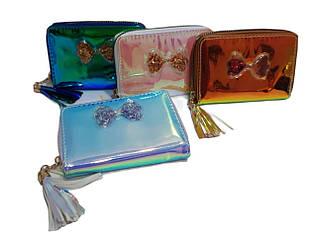 Маленький детский кошелек для девочек, бензинового цвета на  1 замочке / CR 1090/ 13*9*2
