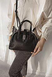 Жіноча шкіряна сумочка ТМ Borse in Pelle (Італія ) / розмір 25-18-11 см / колір чорний