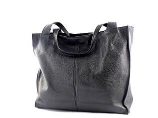 Жіноча шкіряна сумка-шоппер Borse in Pelle (Італія) / розмір 38-34-14.5 см / колір чорний
