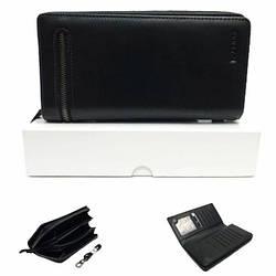 Мужской портмоне, кошелек клатч черного цвета с качественной и мягкой кожи HASSION / Н-089 / 10*19*3.5