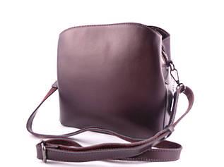 Жіноча шкіряна сумка Solana / розмір 24-25-10 см / колір баклажан