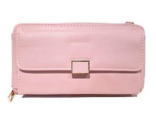 Гаманець - клатч, з якісною еко-шкіри в рожевому кольорі / А369-4 / 10*19*4