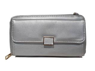 Гаманець - клатч, з якісною еко-шкіри в срібному кольорі / А369-12 / 10*19*4