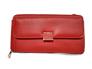 Гаманець - клатч, з якісною еко-шкіри в червоному кольорі / А369-2 / 10*19*4
