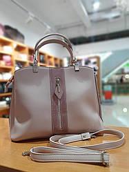 Жіноча сумка ділового формату А4 з якісної екошкіри , 33 x 25 x 14 см , колір пудра