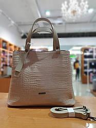 Жіноча сумка з якісної екошкіри в принті кроко , 30-24.5-12.5 см , колір бежевий