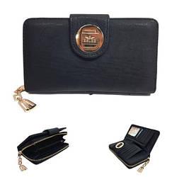 Женский кошелек от ТМ Eslee F6589-1 из качественной эко-кожи, черном цвете / 19*3*10