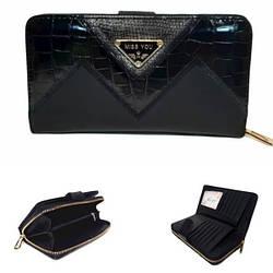 Женский кошелек от ТМ Eslee 99969-1 из качественной эко-кожи, черном цвете / 19*3*10