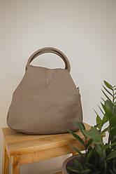 Жіноча шкіряна сумка TM Borse in Pelle (Італія) / 26-28-12 см / колір бежевий