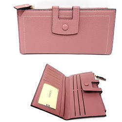 Гаманець жіночий, довгий, якісна еко-шкіра, рожевий / YA MEI / 10*19*0.5