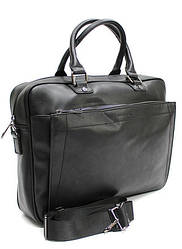 Сумка мужская, сумка для ноутбука, выполненная из качественной экокожи, в черном цвете от DAVID JONES /36*27*9