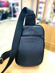 """Мужская кожаная сумка-монорюкзак  от ТМ"""" ArtMar"""" / 15x24x4,5 см / цвет черный"""