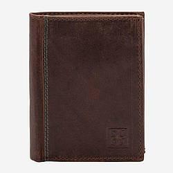 Мужской кожаный кошелек Dudubags Vintage (Италия) / размер 8,5x10,5x3 см / цвет коричневый