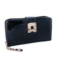 Женский кошелек из качественной эко-кожи, черного цвета от Eslee / 19*10*4