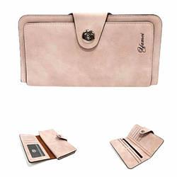 Гаманець жіночий із додатковою візитівкою, еко-шкіра, рожевого кольору / YA MEI / 18.5*9*1.5 / 2055-4