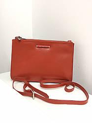 Жіноча шкіряна сумочка від бренду Samsonite (Бельгія) / розмір 16-23-4 см / колір цегляний