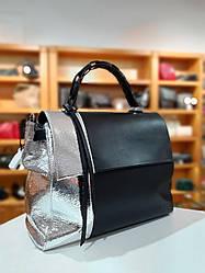 Жіноча шкіряна сумка ТМ ArtMar / розмір 30-34-16 см / цсє чорно-срібний