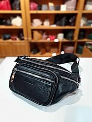 Поясная сумка из натуральной кожи Driver, цвет черный, 14см-31см-4 см