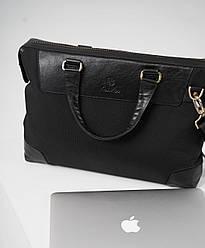 Мужская сумка-портфель из натуральной кожи и текстиля ТМ ArtMar, цвет черный, 39-27-8 см